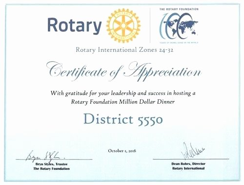 Rotary Certificate Of Appreciation Template Luxury Rotary Club Certificate Template Membership Certificates