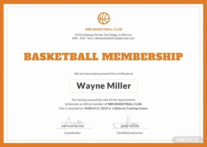 Rotary Certificate Of Appreciation Template Unique Free Basketball Membership Certificate Template