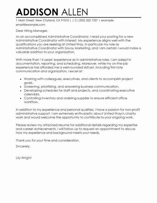 Router Letter Templates Lowes Fresh Fice Coordinator Cover Letter