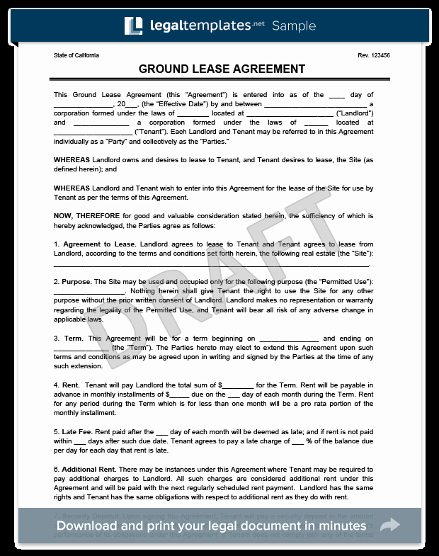 Rv Lease Purchase Agreement Awesome Ground Lease Agreement Print & Download