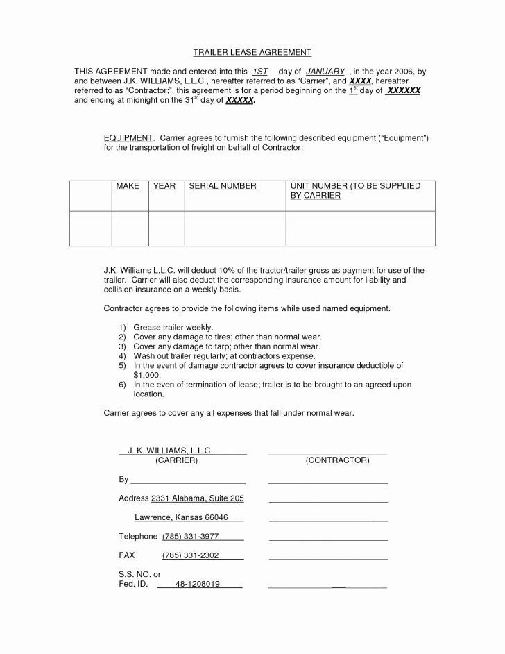 Rv Lease Purchase Agreement Best Of Trailer Rental Agreement Template