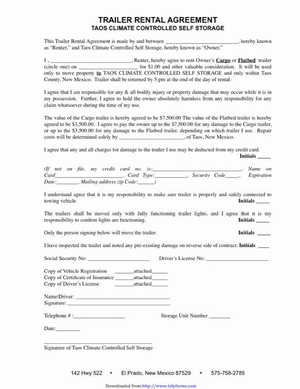 Rv Lease Purchase Agreement Elegant Travel Trailer Rental Agreement Template Trailer Lease