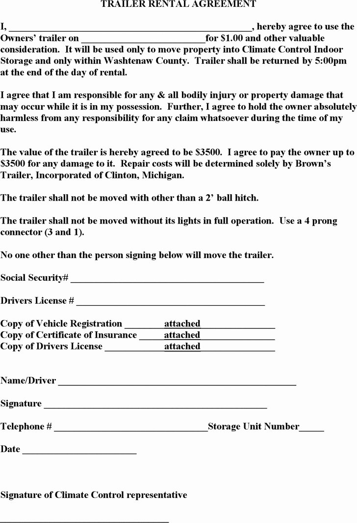 Rv Lease Purchase Agreement Fresh 3 Trailer Rental Agreement Template Free Download