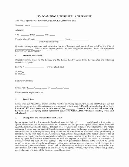 Rv Park Rental Agreement Luxury Florida Rv Camping Site Rental Agreement