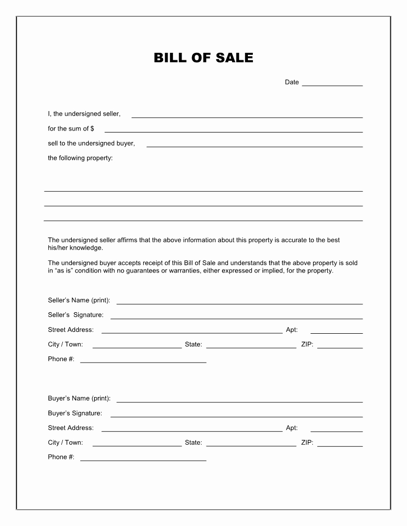 Rv Purchase Agreement Template Awesome Free Printable Rv Bill Of Sale form form Generic