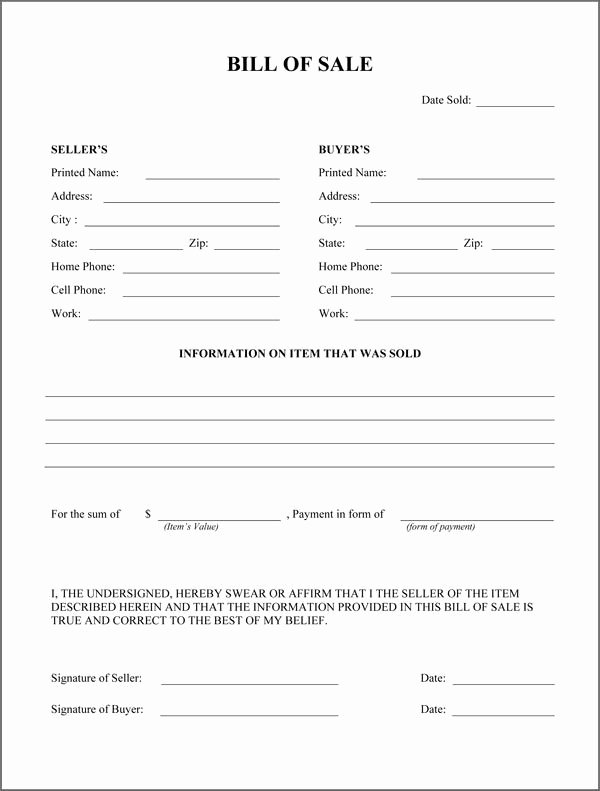 Rv Purchase Agreement Template Beautiful Free Printable Rv Bill Of Sale form form Generic