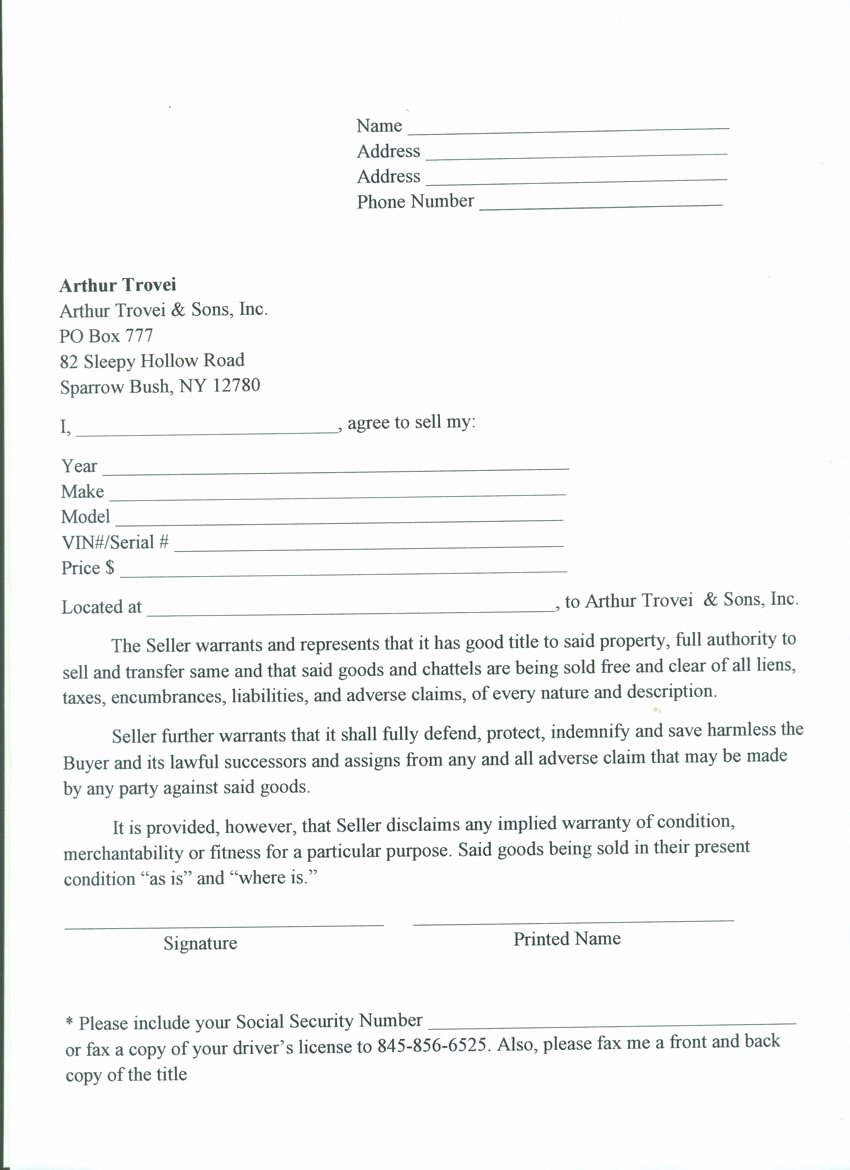 Rv Purchase Agreement Template Best Of Rv Bill Sale Free Printable Documents