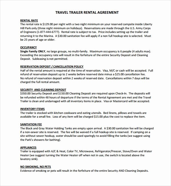 Rv Purchase Agreement Template Elegant 11 Trailer Rental Agreement Templates Pdf