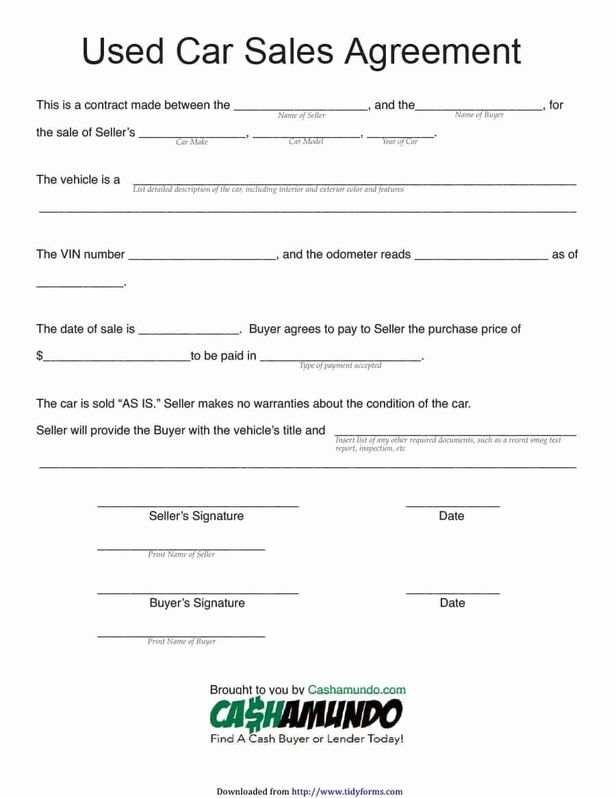 Rv Purchase Agreement Template Elegant Rv Purchase Agreement Pdf Best Vehicle Purchase Agreement