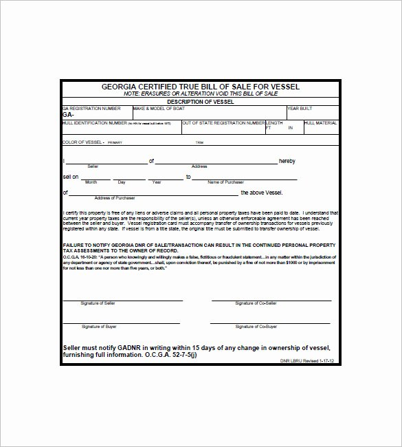 Rv Purchase Agreement Template Fresh 8 Boat Bill Of Sale Free Sample Example format