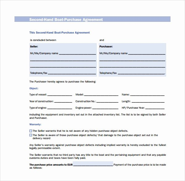 Rv Purchase Agreement Template Fresh 9 Boat Purchase Agreement Templates