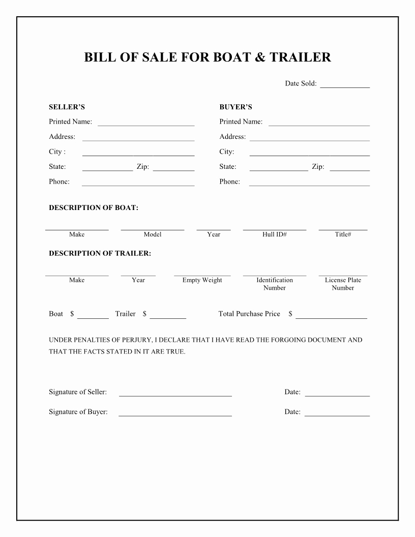 Rv Purchase Agreement Template Fresh Free Boat & Trailer Bill Of Sale form Download Pdf