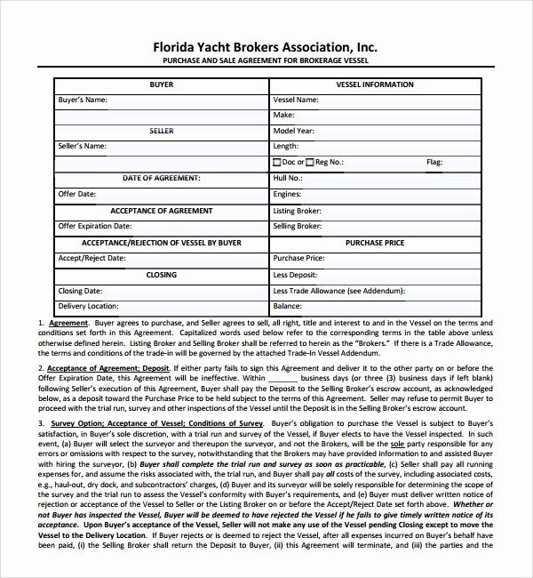 Rv Purchase Agreement Template New 9 Boat Purchase Agreement Templates
