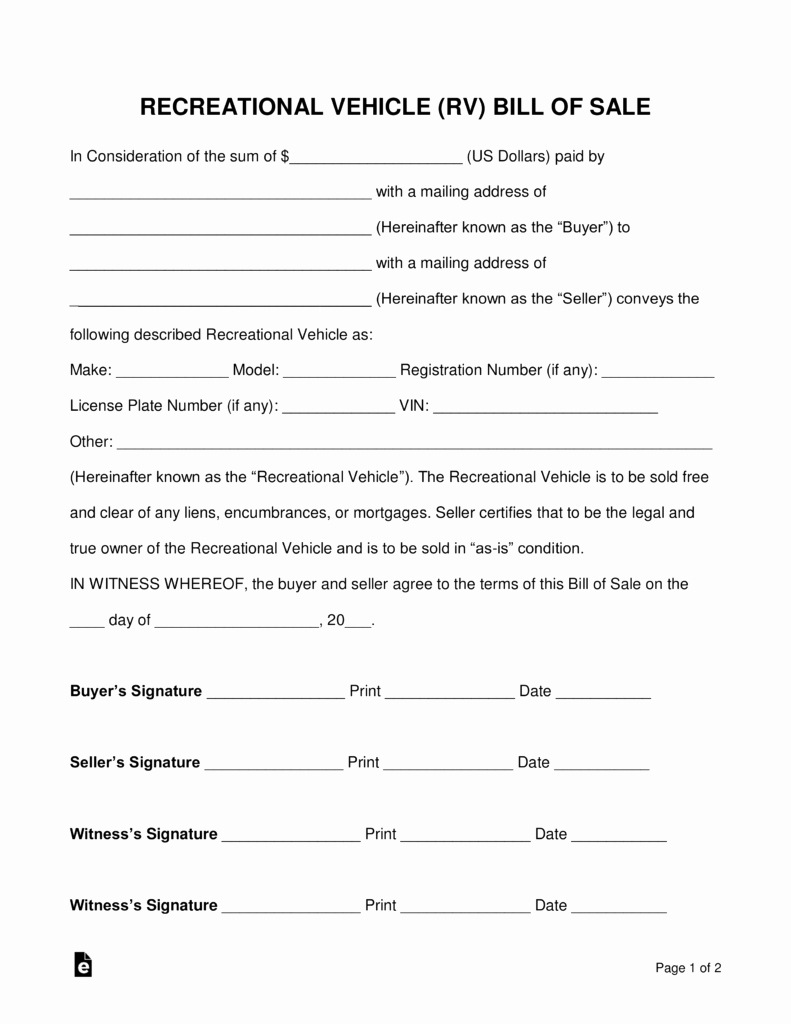 Rv Purchase Agreement Template New Free Recreational Vehicle Rv Bill Of Sale form Pdf