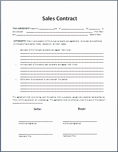 Rv Purchase Agreement Template New Sale Contract