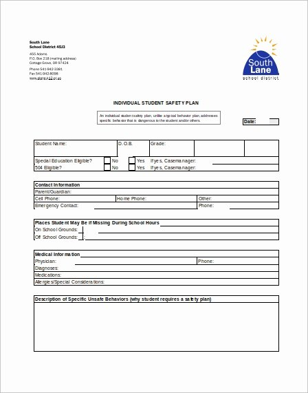 Safety Plan Template for Students Awesome Sample Safety Plan Template 11 Free Samples Examples