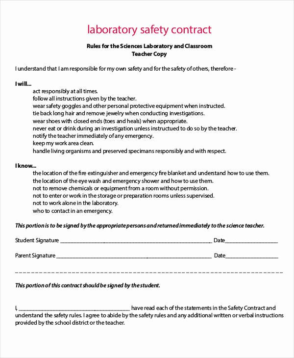 Safety Plan Template for Students Beautiful 9 Safety Contract Samples & Templates