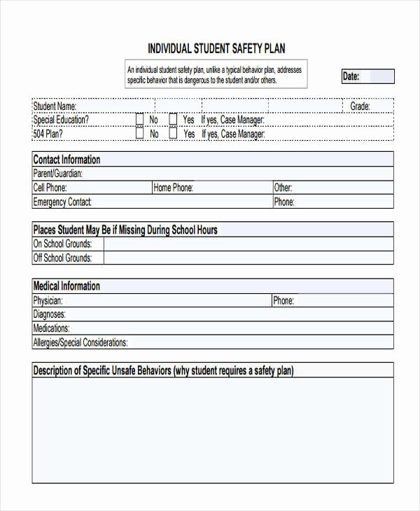 Safety Plan Template for Students Elegant General Safety Plan Template Bing Images