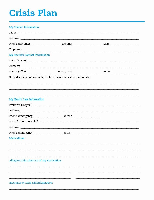 Safety Plan Template for Students Inspirational Wellness toolbox Plan for Life Sample Depression and