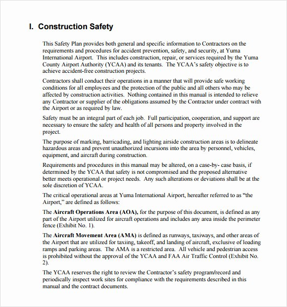 Safety Plan Template for Students New S Construction Safety Program Template Coloring