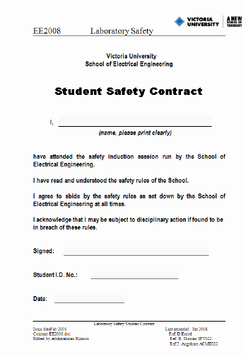 Safety Plan Template for Students Unique Student Safety Contract