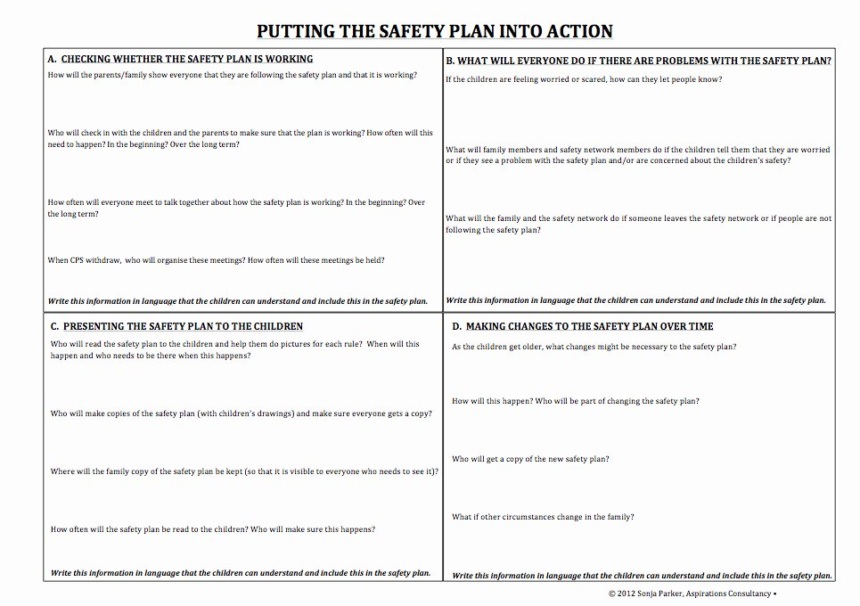 Safety Plan Template for Youth Elegant Specific tools and Processes Partnering for Safety