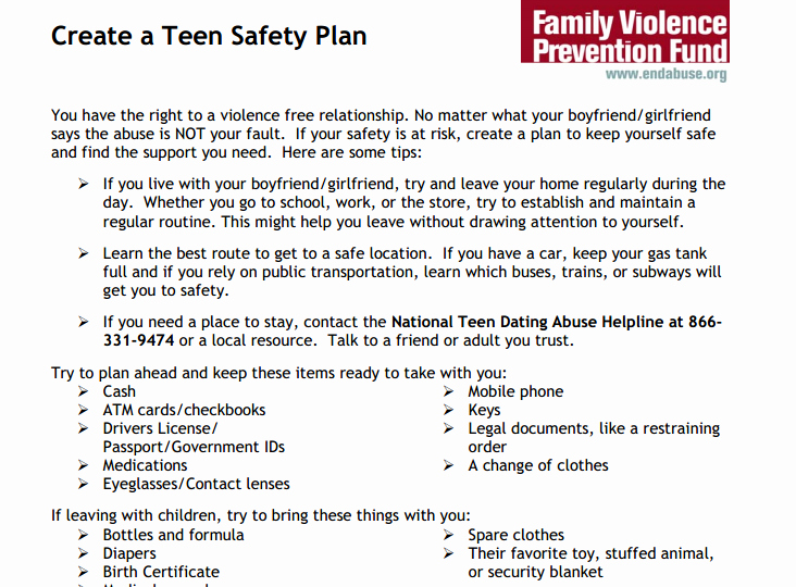 Safety Plan Template for Youth Luxury Create A Teen Safety Plan Futures without Violence