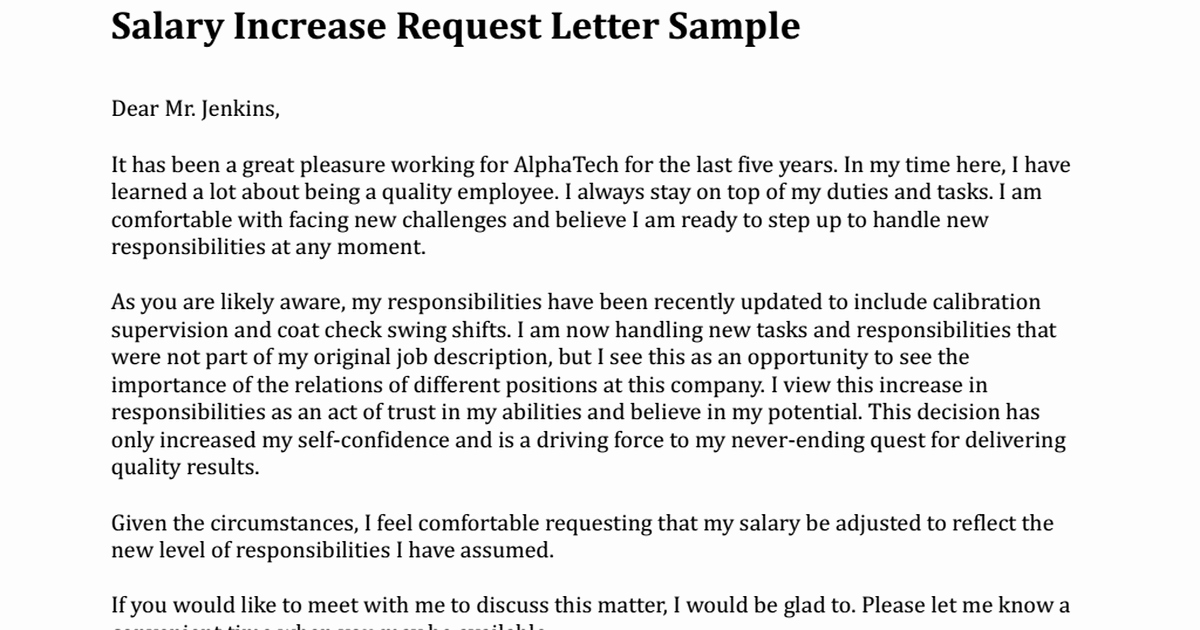 Salary Increase Letter format Beautiful Salary Increase Request Letter Sample Pdf Google Drive