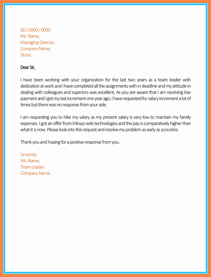 Salary Increase Letter format Elegant 5 Salary Letter From Pany