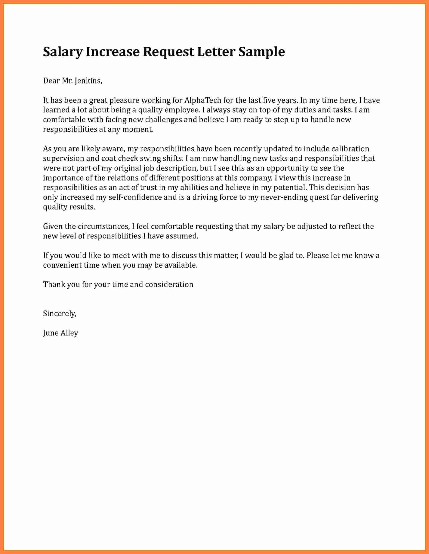 Salary Increase Letter format Inspirational 9 Salary Adjustment Letter Sample