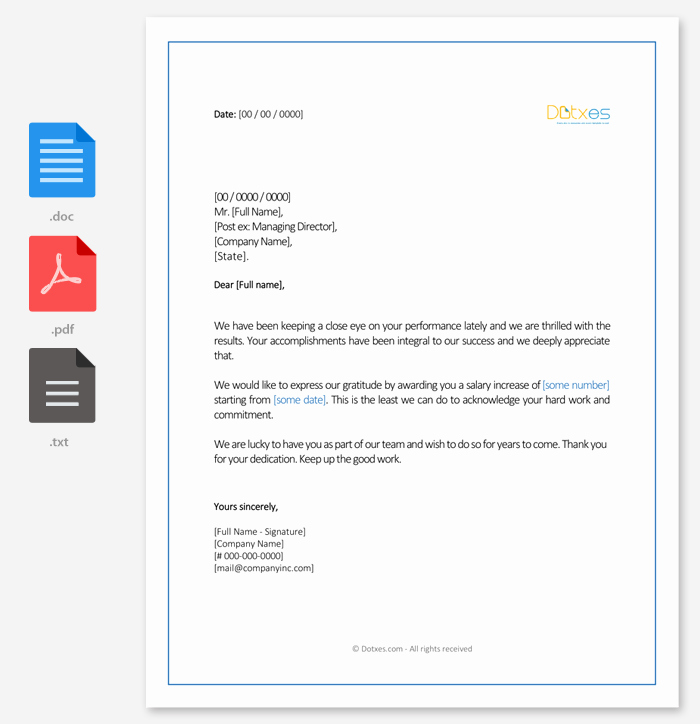 Salary Increase Letter format Lovely Salary Increment Letter 14 Best Printable Samples and