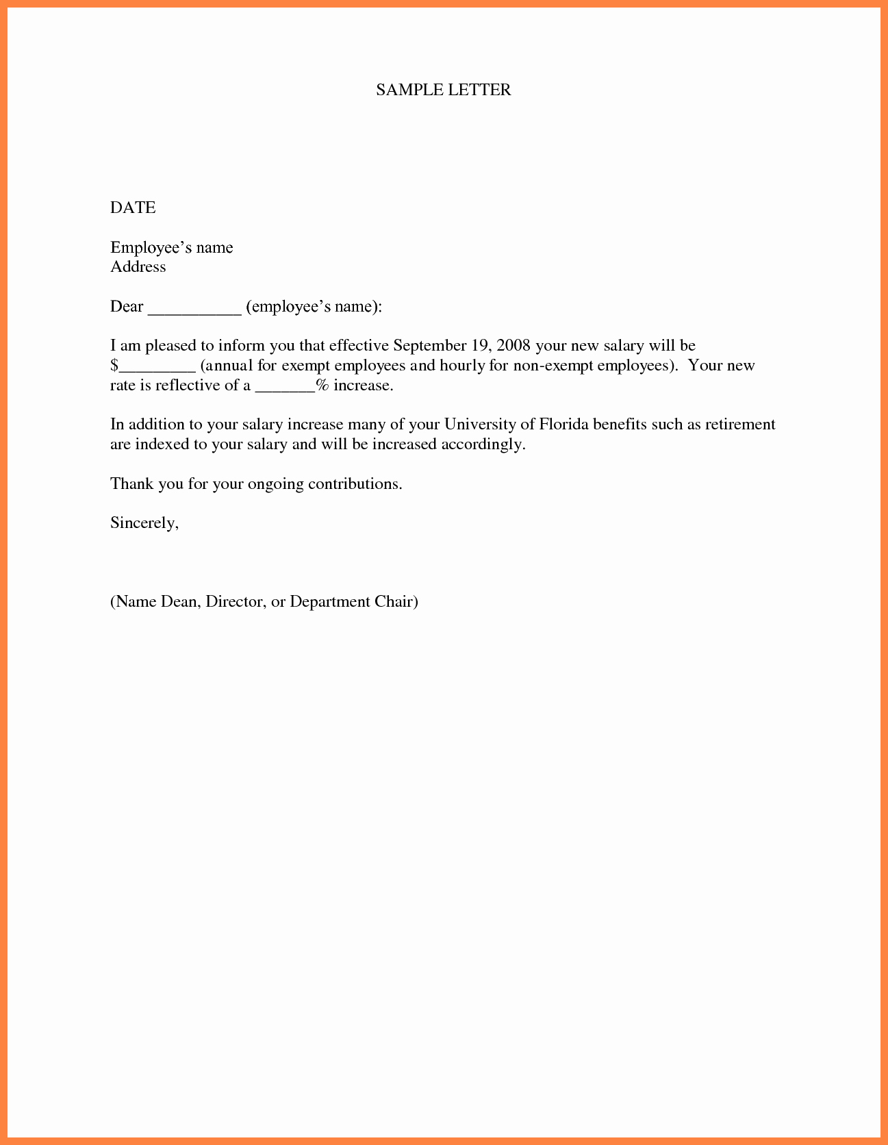 Salary Increase Letter format Unique 5 Sample Salary Increase Letter to Employer