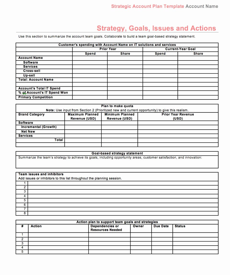 Sales Account Plan Template Beautiful 9 Sales Growth Plan Template Aesaw