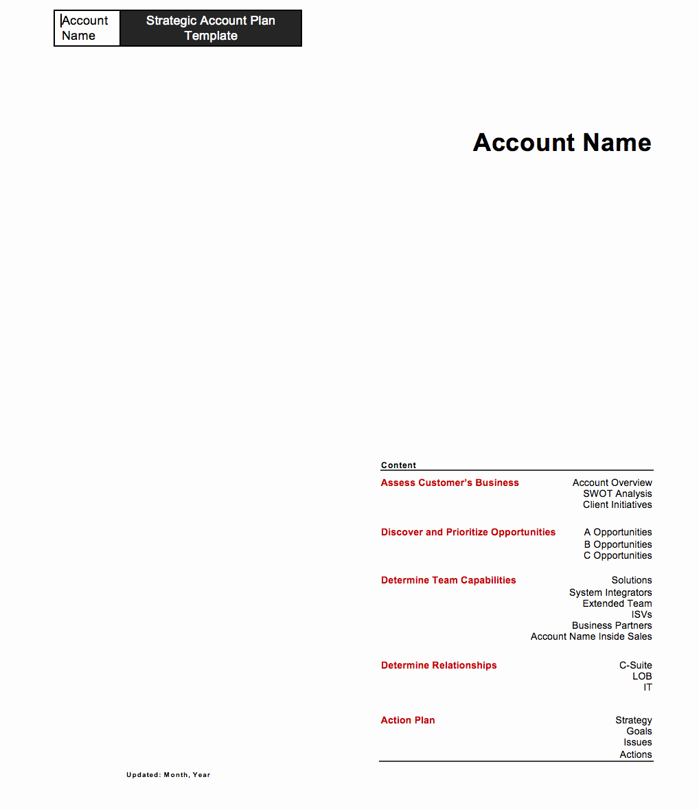 Sales Account Plan Template Best Of Strategic Account Plan Template for B2b Sales Released by