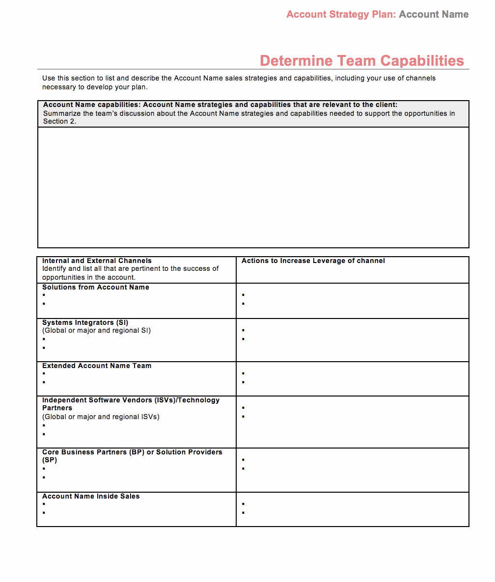Sales Account Plan Template Best Of Strategic Account Plan Template