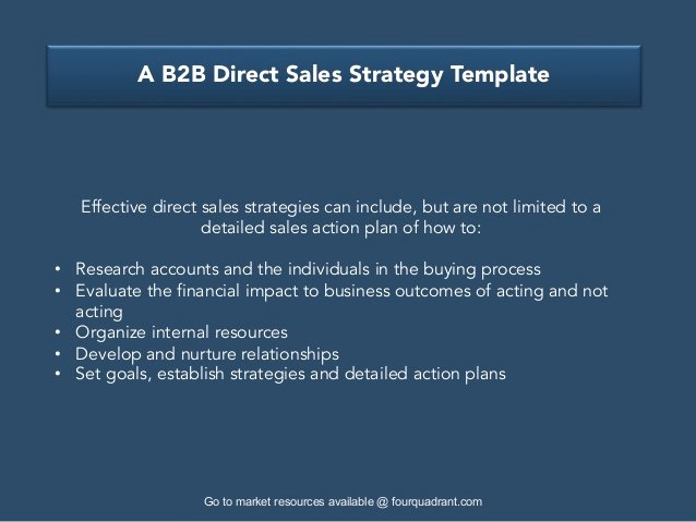 Sales Account Plan Template New A B2b Direct Sales Strategy Template