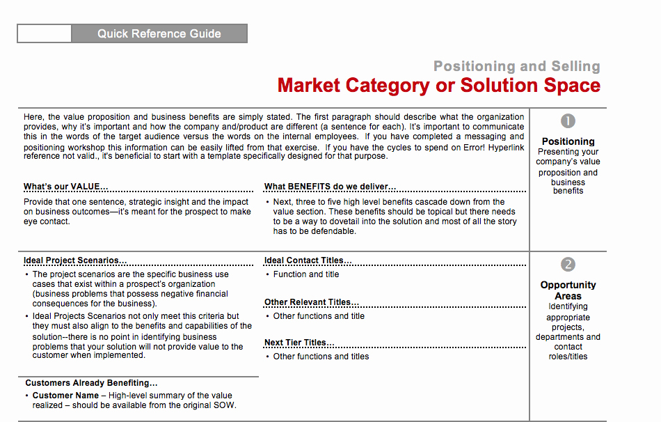 Sales Account Plan Template New Sales & Marketing Quick Reference Card Four Quadrant Gtm