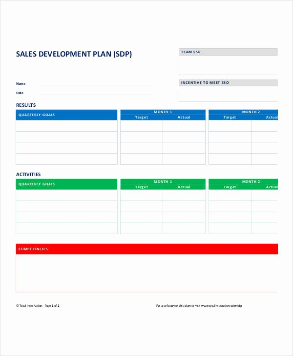 Sales Business Plan Template Inspirational Personal Sales Plan Templates 5 Free Pdf format