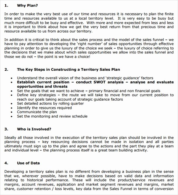 Sales Business Plan Template Lovely Sample Territory Plan Template 8 Free Documents In Pdf