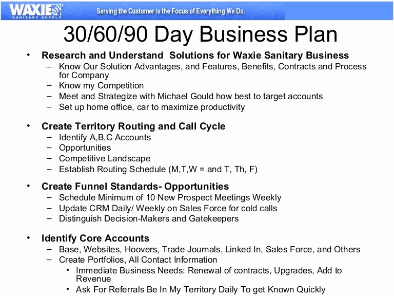 Sales Business Plan Template New 30 60 90 Business Plan