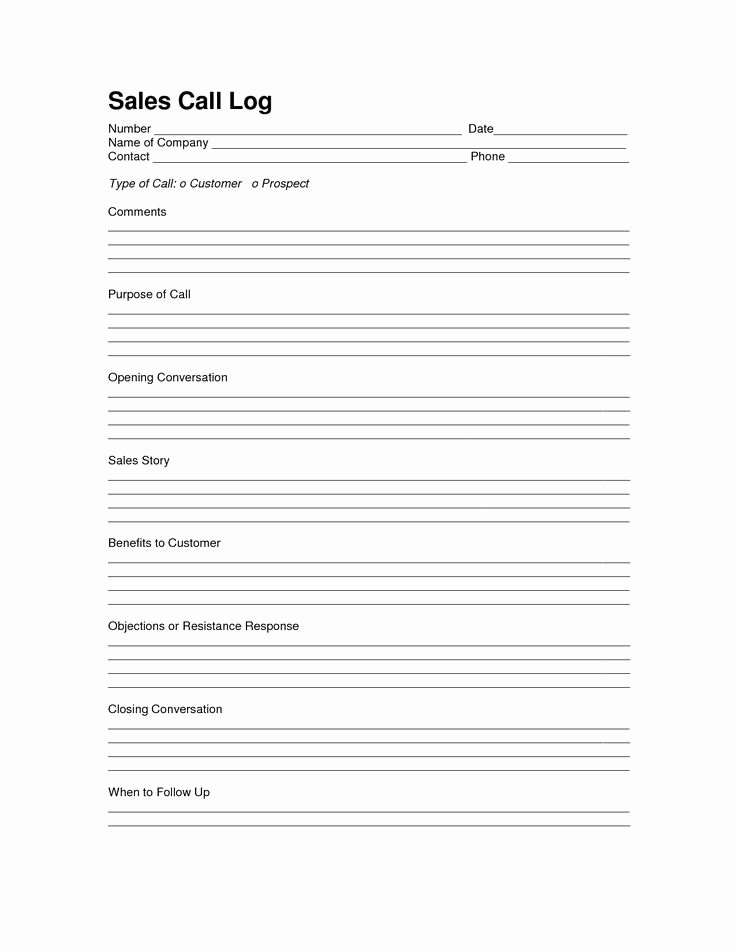 Sales Call Plan Template Elegant Sales Log Sheet Template Sales Call Log Template