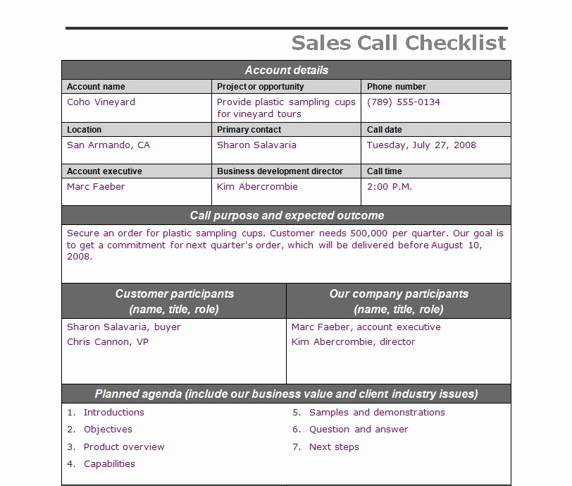 Sales Call Plan Template Luxury Sales Call Checklist
