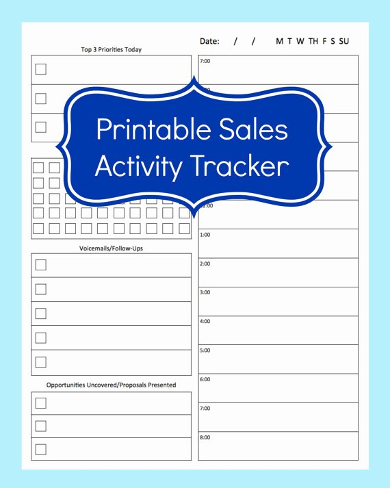 Sales Calling Plan Template Best Of Sales Activity Tracker Daily Planner Cold Call Tracker