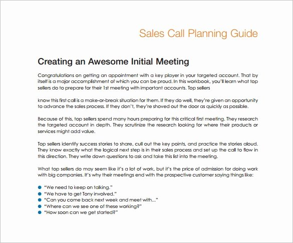 Sales Calling Plan Template Elegant Sales Plan Template 23 Free Sample Example format