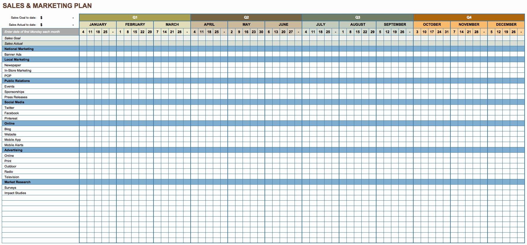 Sales Calling Plan Template Fresh Free Marketing Plan Templates for Excel Smartsheet