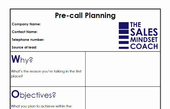 Sales Calling Plan Template Fresh Pre Call Planning Template the Sales Mindset Coach