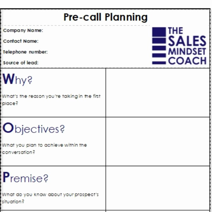 Sales Calling Plan Template Unique Woppa Pre Call Planning isn T A Script It S A Structured