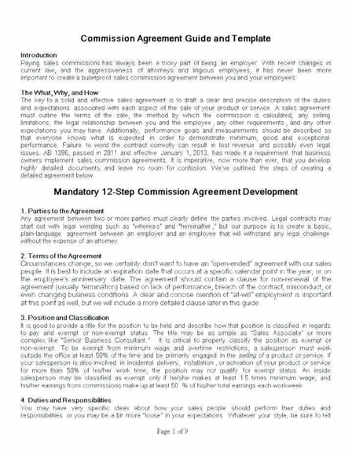Sales Commission Plan Template Inspirational Business Sale Agreement Template Free Download Basic