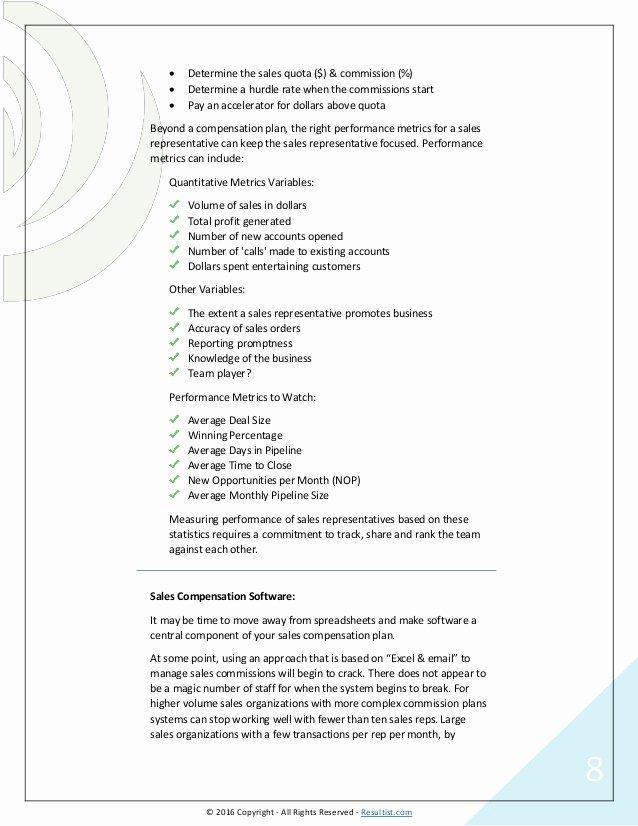 Sales Compensation Plan Template Best Of Sales Pensation Plans Examples Templates software Options