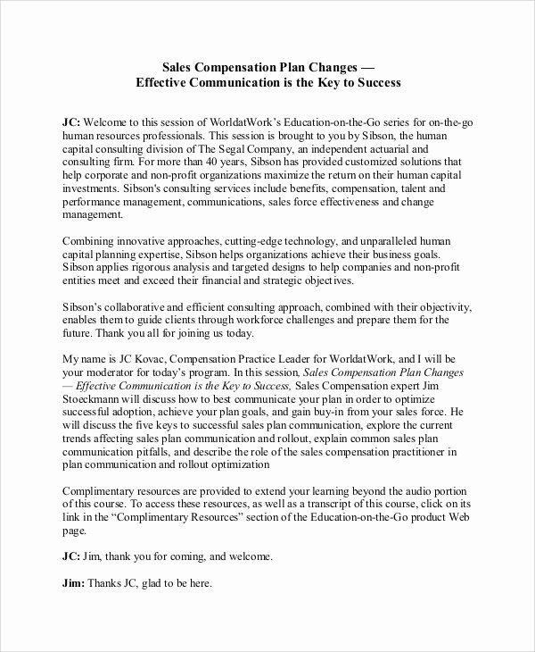 Sales Compensation Plan Template Elegant Sample Sales Plan 9 Documents In Pdf